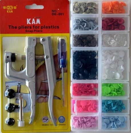KIT Pince KAM avec un assortiment de 160 pressions (T5, T8, ETOILES, COEURS...) dans leur boite de rangement