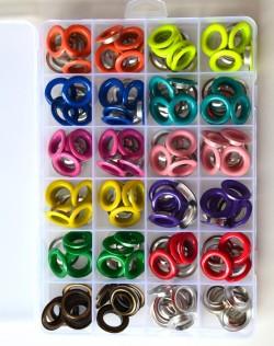 Coffret 120 OEILLETS 12 MM - 12 couleurs dans leur boite