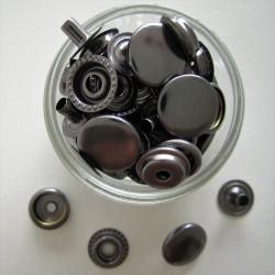 Pressions métalliques GRIS ACIER 15X