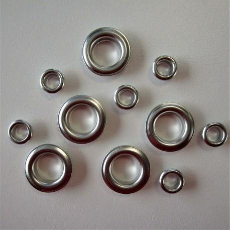 OEILLETS métallique argent taille au choix