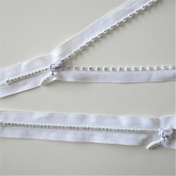 "ZIP incrustation ""diamant""  - BLANC"