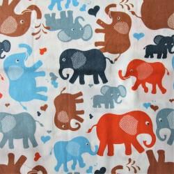 """Coton satiné - motif """"ELEPHANT"""""""