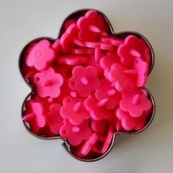 Pressions KAM fleur - rose fluo MAT