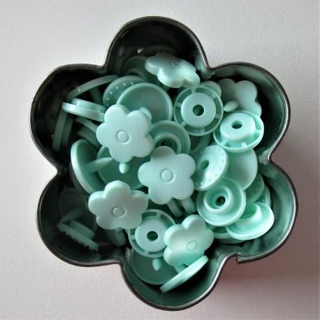 Pressions KAM fleur - vert pastel MAT