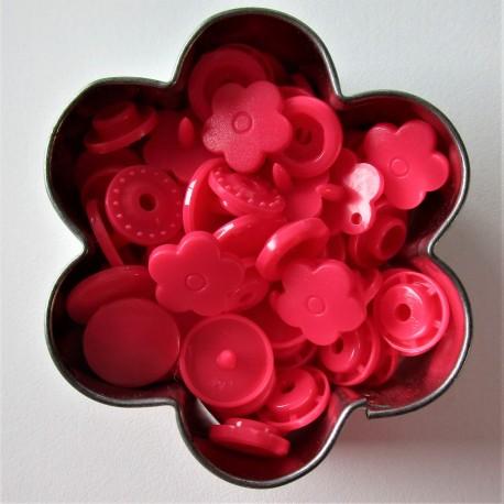 Pressions KAM fleur - rose bonbon MAT