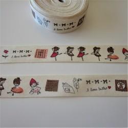 "Ruban 100% coton ""danseuse"""