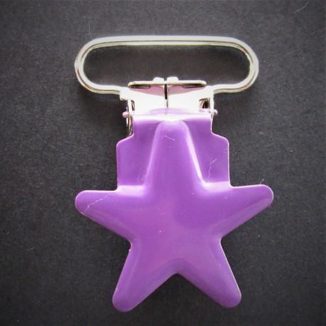 """Attache tétine/bretelle """"ETOILE""""-violet"""