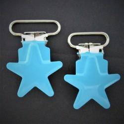 """Attache tétine/bretelle """"ETOILE""""-turquoise"""