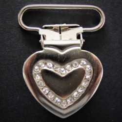"Attache tétine/bretelle ""COEUR"" STRASS"