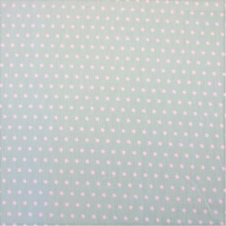 """Coton vert d'eau - motif """"ETOILE"""" blanche"""