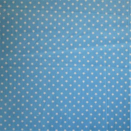 "Coton turquoise - motif ""ETOILE"" blanche"