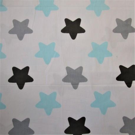 """Coton turquoise - motif """"ETOILE"""" gris bleu"""