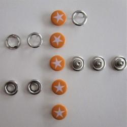 Pressions GRIFFES **ETOILE ** blanc/orange