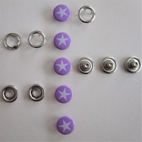 Pressions GRIFFES **ETOILE ** blanc/violet