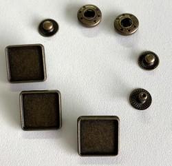 """Pressions métalliques 12,5L """"CARRE"""" à customiser"""