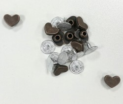 RIVETS coeur BRONZE 10mm  x 10