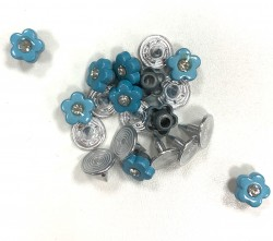 RIVETS fleurs bleues 10mm  x 10