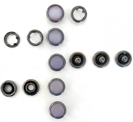 Pressions GRIFFES NACRE gris bleu/gris acier