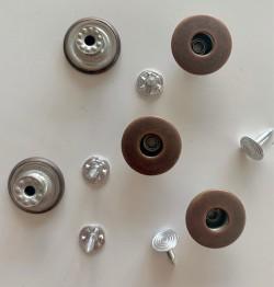 """5 boutons JEANS """"trous"""" 17mm CUIVRE"""