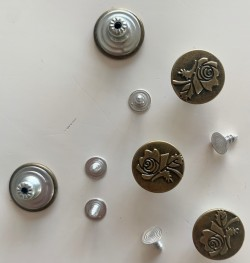 """5 boutons JEANS """"plat"""" 17mm ROSE"""