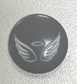 """Pressions KAM BI-COLOR gravées """"ANGEL"""" gris"""