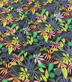 "Popeline de coton - motif ""FLOWER"" jungle"