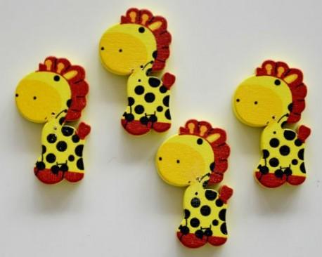 "4 boutons bois ""girafe"""